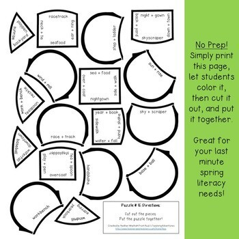 Spring Literacy Centers: Compound Words | Spring Activities | Spring ELA