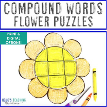 COMPOUND WORDS Flower Puzzles | Spring ELA Literacy Centers or Activities