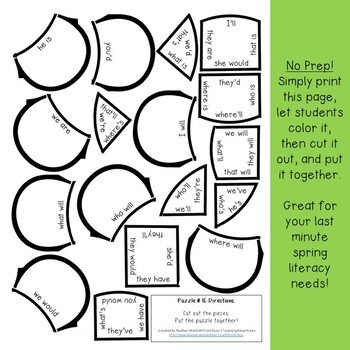 Spring Literacy Centers: Contractions