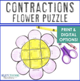 CONTRACTIONS Flower Puzzle | Spring Activities or Games for ELA & Literacy