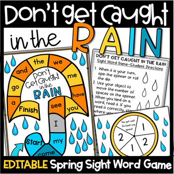 Spring Literacy Centers- Editable Sight Words Game