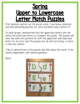 Spring Literacy Centers: Letters for Preschool, PreK, K & Homeschool