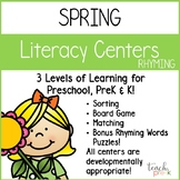 Spring Literacy Centers: Rhyming for Preschool, PreK, K & Homeschool