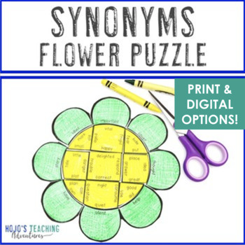 Spring Literacy Centers: Synonyms Flower Puzzle - Differentiated & NO PREP