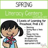 Spring Literacy Centers: Vocabulary for Preschool, PreK, K & Homeschool
