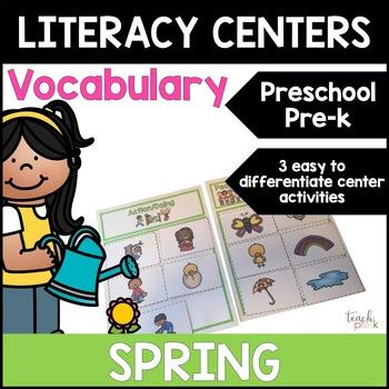 Spring Literacy Centers: Vocabulary for Preschool, PreK, K & Homeschool