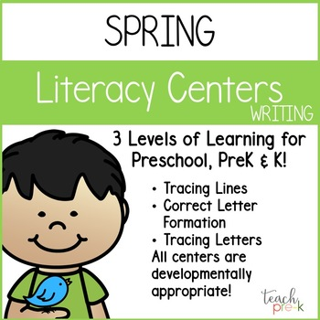 Spring Literacy Centers: Writing for Preschool, PreK, K & Homeschool