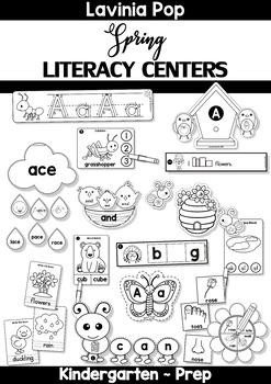 Spring Literacy Centers for Kindergarten B&W