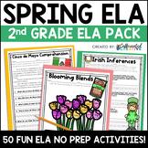 Spring ELA Pack: No Prep Printable Worksheets/Activities for 2nd Grade
