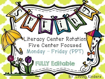 Spring Literacy Rotation EDITABLE & Projectable