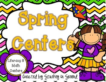 Spring Literacy and Math Centers (14 Centers) Color AND B/W Printer Friendly