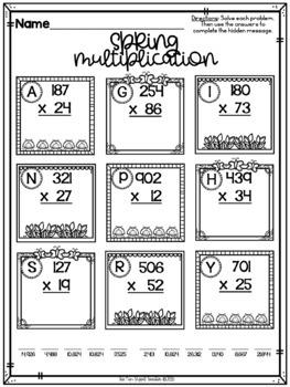 Spring ELA and Math No Prep Printables