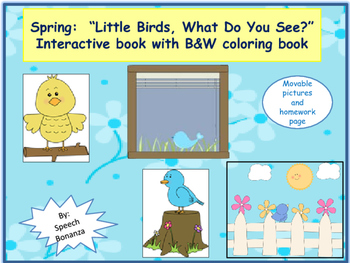 """WHAT Q's;  """"Little Birds, What Do You See?"""" Interactive book with coloring book"""