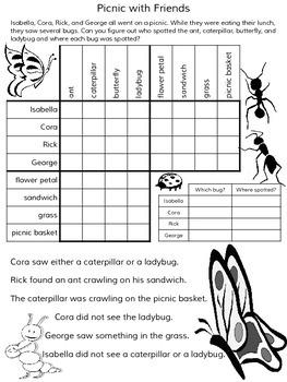 Spring Logic Puzzles ~ 5 Puzzles ~ No Prep