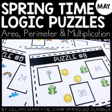 Spring Math Logic Puzzles- Area, Perimeter and Multiplication