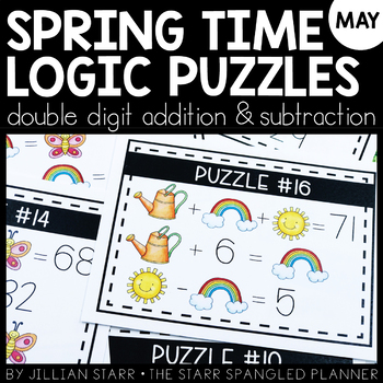 Spring Logic Puzzles- Double Digit Addition and Subtraction