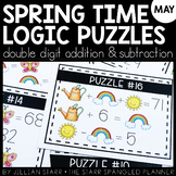 Spring Math Logic Puzzles- Double Digit Addition and Subtraction