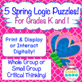 Spring Logic Puzzles For Kindergarten & First Grade Print or Interact Digitally!