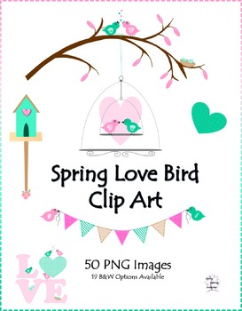 Spring Love Birds Clip Art and Borders (50 PNG Images)