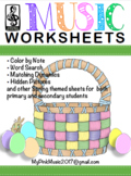 Easter MUSIC sheet: hidden picture, word search, color by