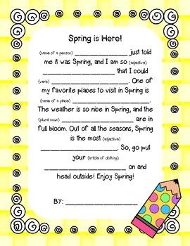 Spring Mad-Libs writing FREEBIE!