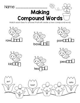 Spring Making Compound Words Worksheet
