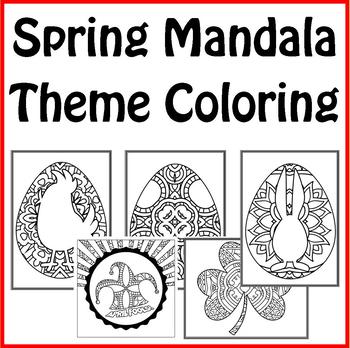 Spring Mandala and Zentangle Theme Coloring Book