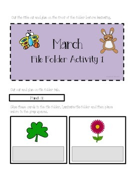 March Matching & Counting File Folder Activities