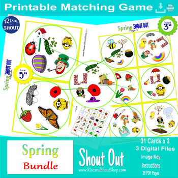 """Spring Matching Game Shout Out; Spot the Match Game 3"""" & 5""""vocabulary, language"""