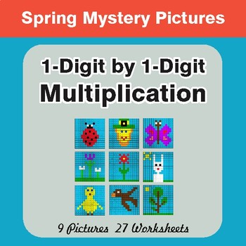 Spring Math: 1-Digit Multiplication - Mystery Pictures
