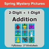 Spring Math: 2-Digit + 1-Digit Addition - Mystery Pictures