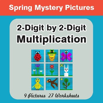Spring Math: 2-Digit Multiplication - Mystery Pictures