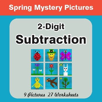 Spring Math: 2-Digit Subtraction - Math Mystery Pictures
