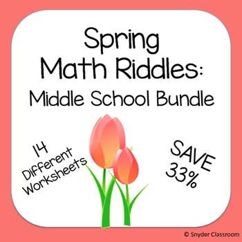 Spring Math Riddles: Middle School Bundle