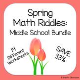 Spring Math Riddles: Middle School Bundle