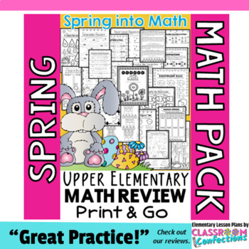 Spring Math Worksheets: 4th Grade Spring Math Review Activities