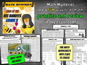 3rd Grade Spring Activity: Spring Math Mystery - Division Fractions Area Money