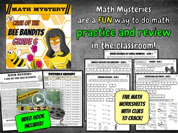 Spring Activity: Math Mystery {GRADE 6 Volume Integers Percents and more}
