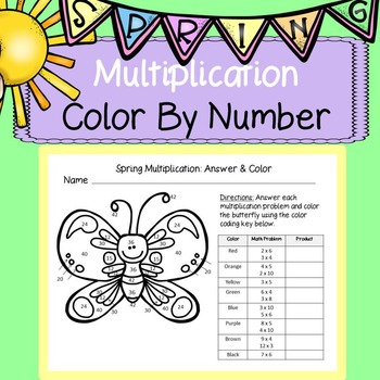Spring Math Multiplication: Color By Number