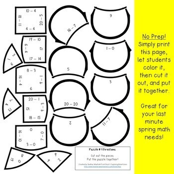 SUBTRACTION Flower Puzzles | FUN Spring Math Games, Centers, or Activities