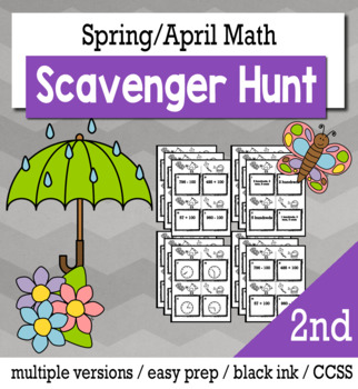 Spring Math 2nd Grade Scavenger Hunt Game Bundle