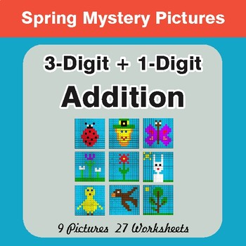 Spring Math: 3-Digit + 1-Digit Addition - Mystery Pictures