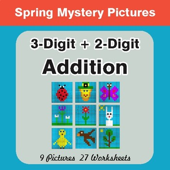 Spring Math: 3-Digit + 2-Digit Addition - Mystery Pictures