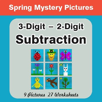 Spring Math: 3-Digit - 2-Digit Subtraction - Math Mystery Pictures