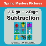 Spring Math: 3-Digit - 2-Digit Subtraction - Mystery Pictures