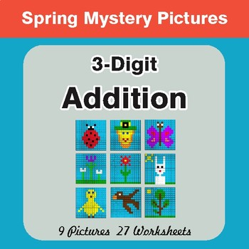 Spring Math: 3-Digit Addition - Mystery Pictures