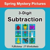 Spring Math: 3-Digit Subtraction - Mystery Pictures