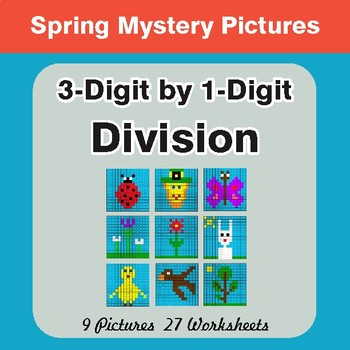 Spring Math: 3-Digit by 1-Digit Division - Mystery Pictures