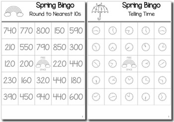 Spring Math 3rd Grade BINGO Game Bundle