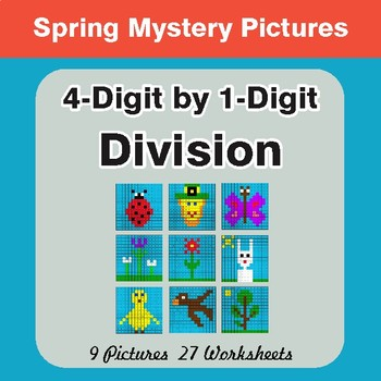 Spring Math: 4-Digit by 1-Digit Division - Mystery Pictures